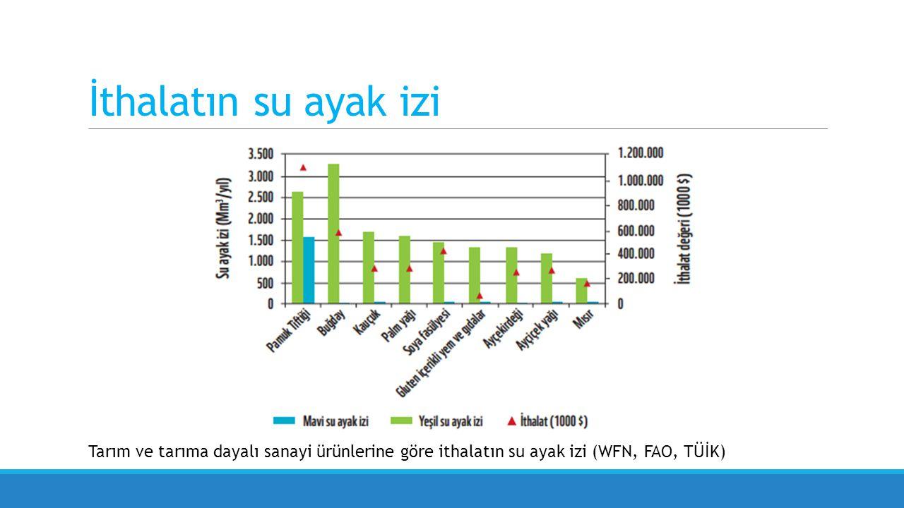 İthalatın su ayak izi Bir ülkenin ithal ettiği mal ve hizmetlerin üretimi için gereken toplam su (yeşil, mavi ve gri) miktarıdır.