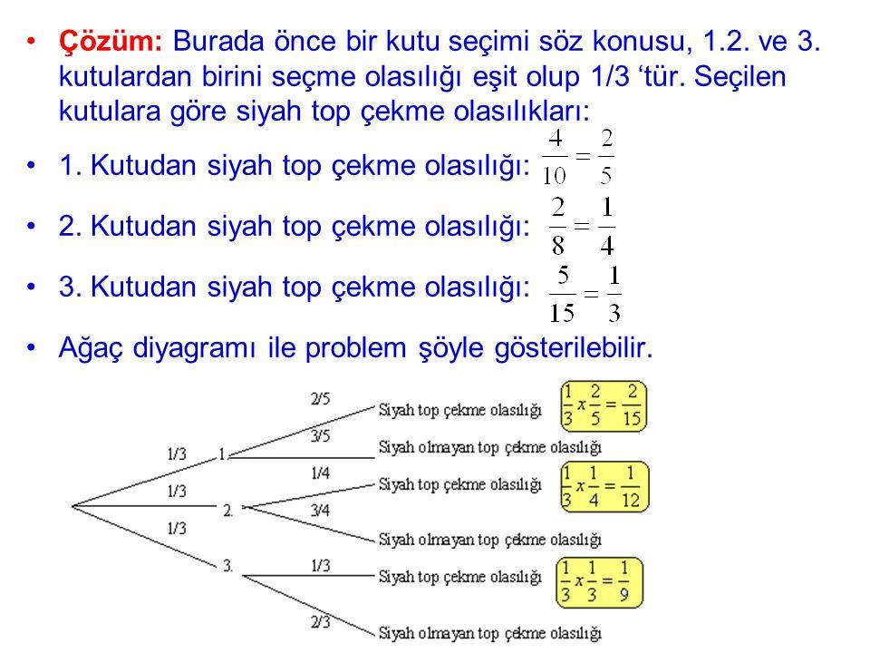 Çözüm: Burada önce bir kutu seçimi söz konusu, 1. 2. ve 3