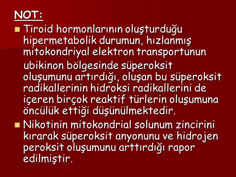 NOT: Tiroid hormonlarının oluşturduğu hipermetabolik durumun, hızlanmış mitokondriyal elektron transportunun.