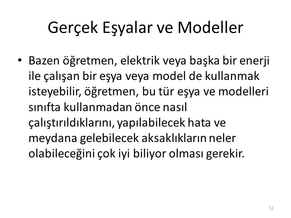 Gerçek Eşyalar ve Modeller
