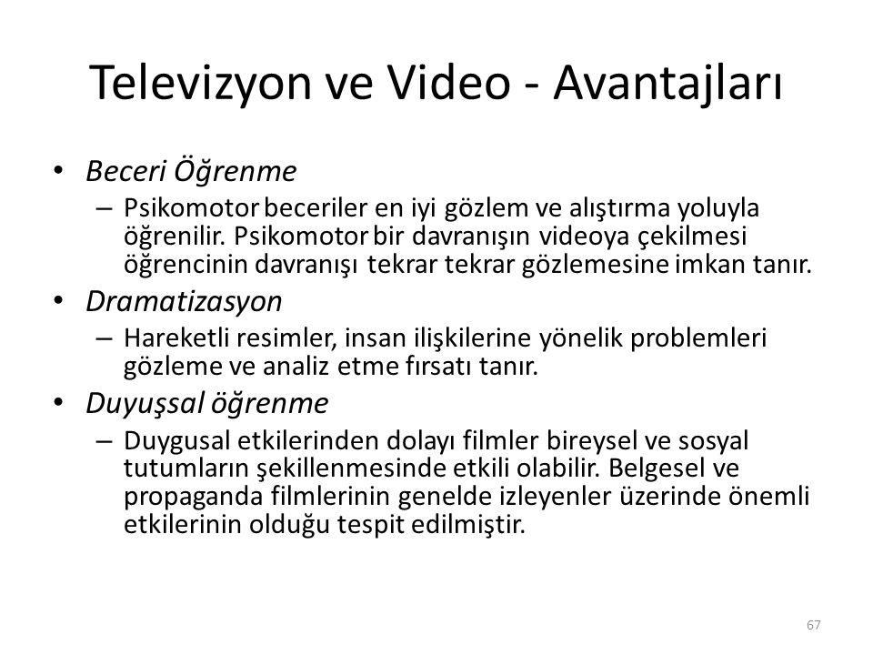 Televizyon ve Video - Avantajları