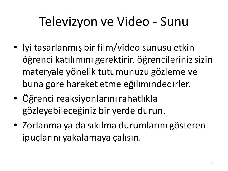 Televizyon ve Video - Sunu