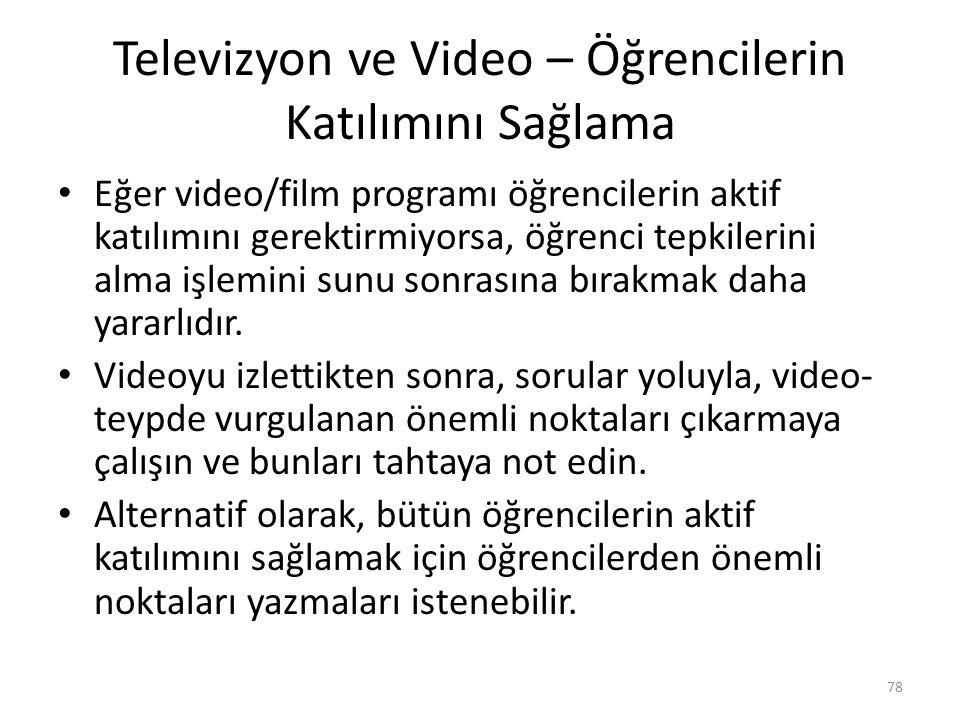 Televizyon ve Video – Öğrencilerin Katılımını Sağlama