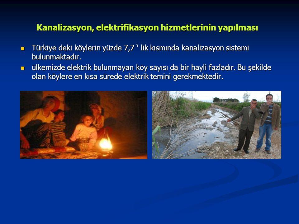 Kanalizasyon, elektrifikasyon hizmetlerinin yapılması