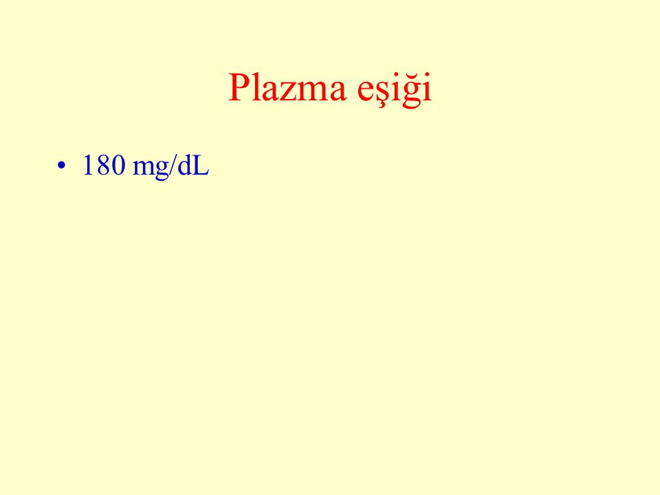 Plazma eşiği 180 mg/dL
