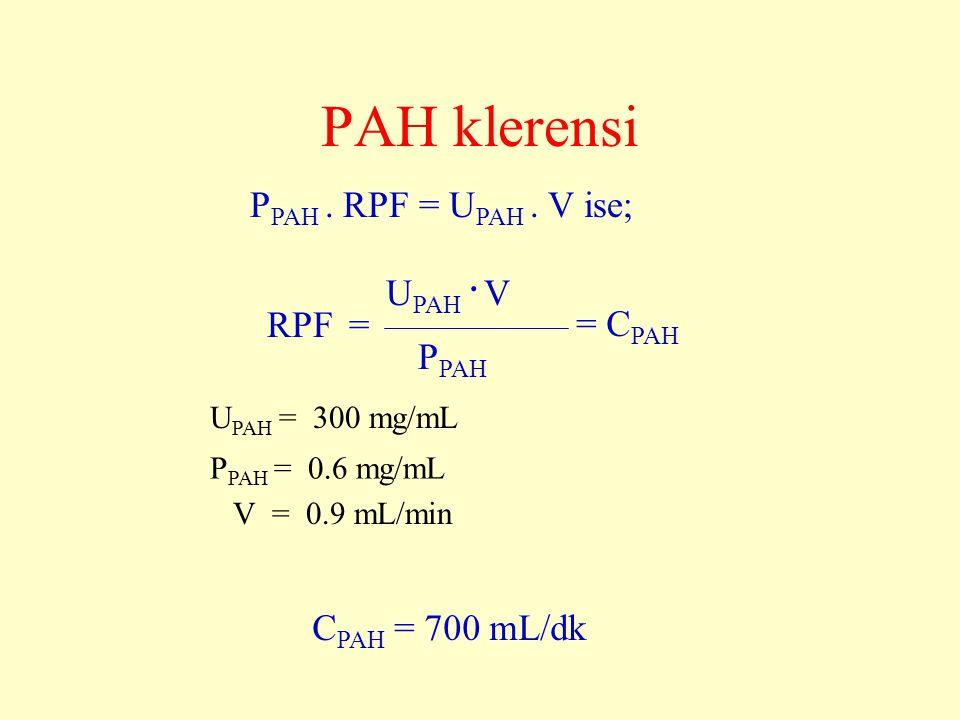 PAH klerensi PPAH . RPF = UPAH . V ise; UPAH . V RPF = = CPAH PPAH