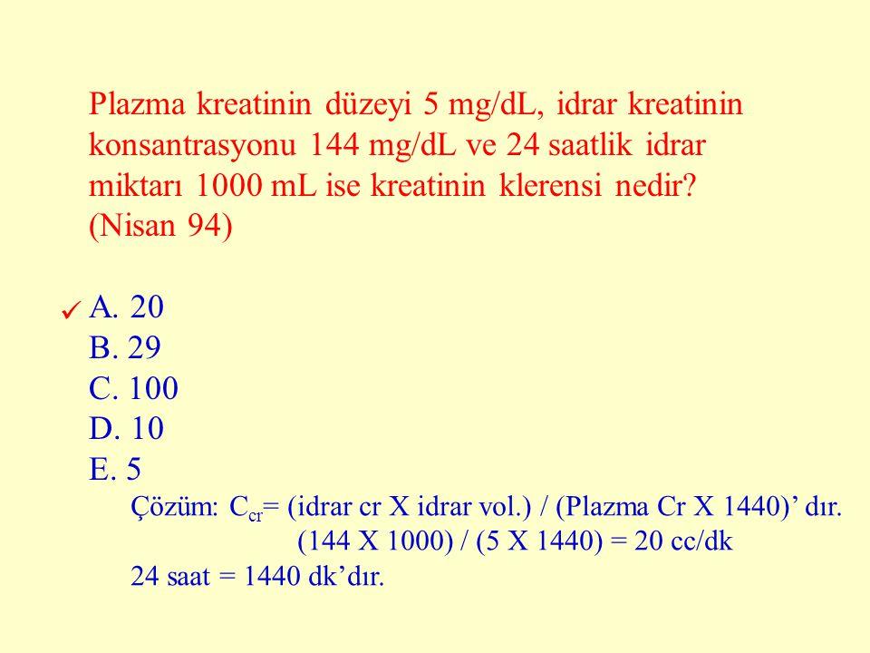 Plazma kreatinin düzeyi 5 mg/dL, idrar kreatinin konsantrasyonu 144 mg/dL ve 24 saatlik idrar miktarı 1000 mL ise kreatinin klerensi nedir (Nisan 94)