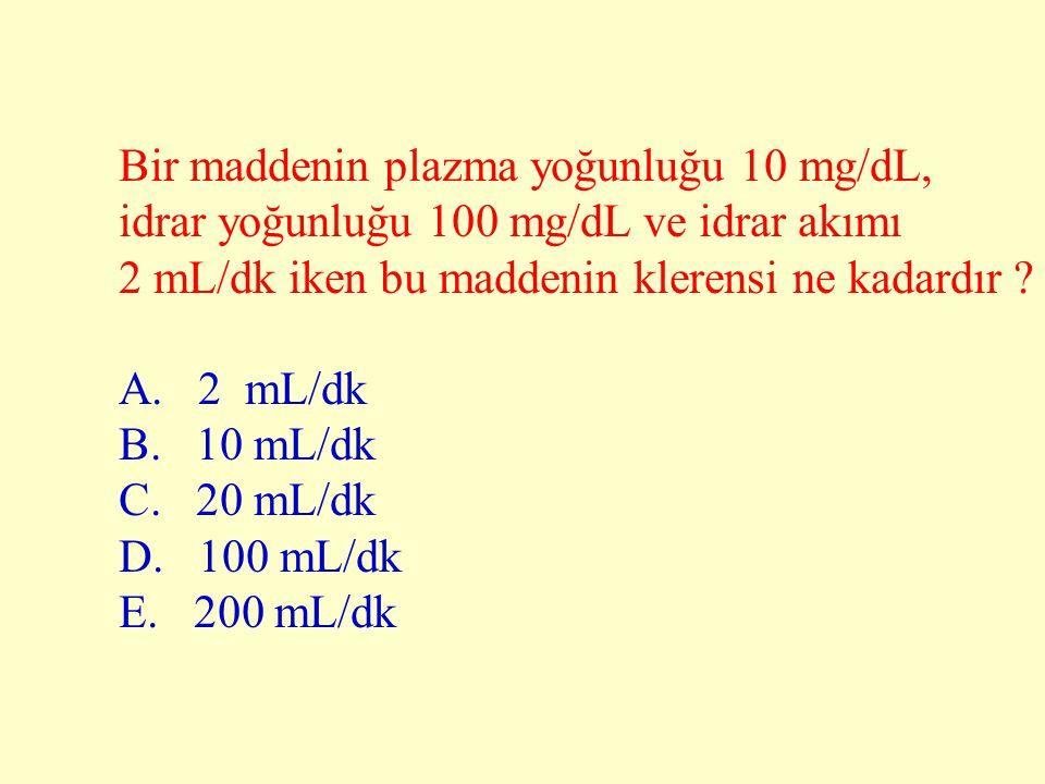 Bir maddenin plazma yoğunluğu 10 mg/dL,