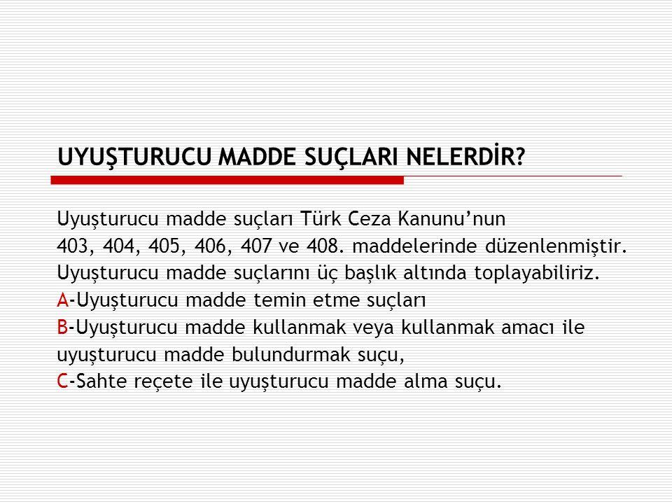 UYUŞTURUCU MADDE SUÇLARI NELERDİR