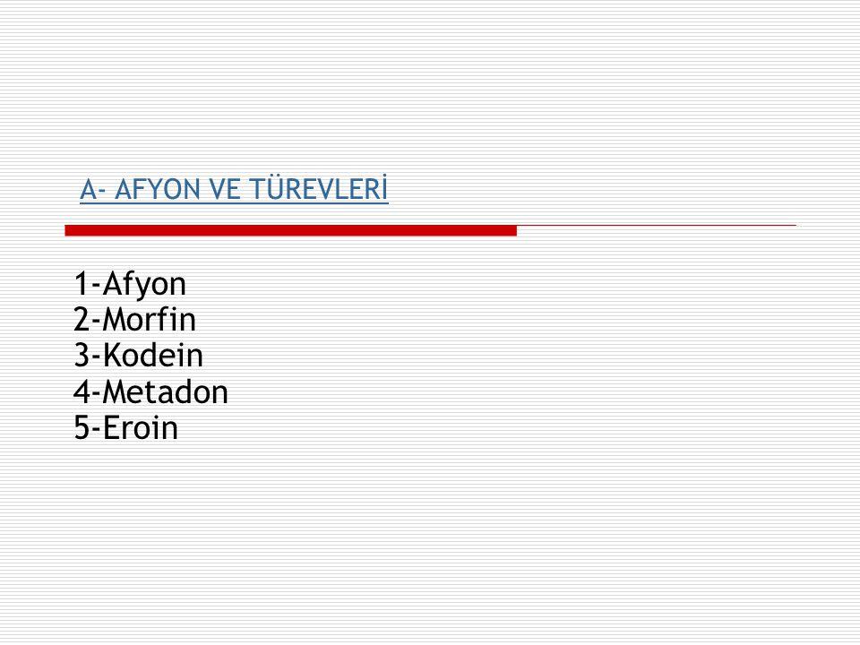 1-Afyon 2-Morfin 3-Kodein 4-Metadon 5-Eroin