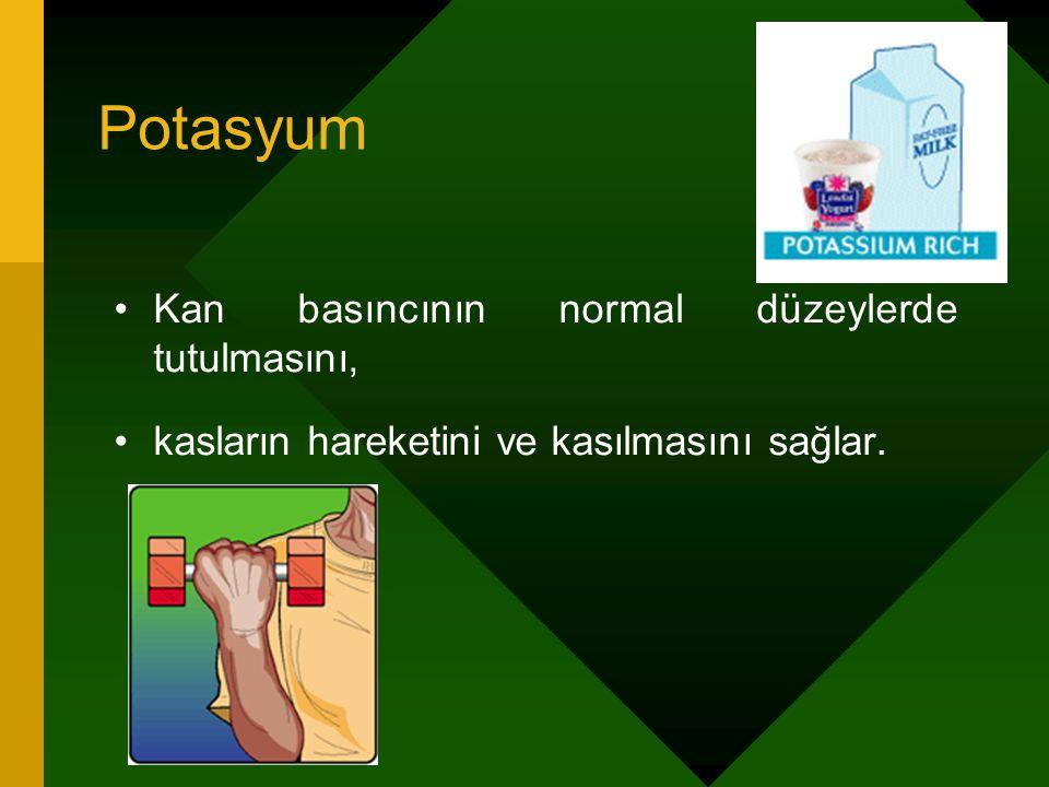 Potasyum Kan basıncının normal düzeylerde tutulmasını,