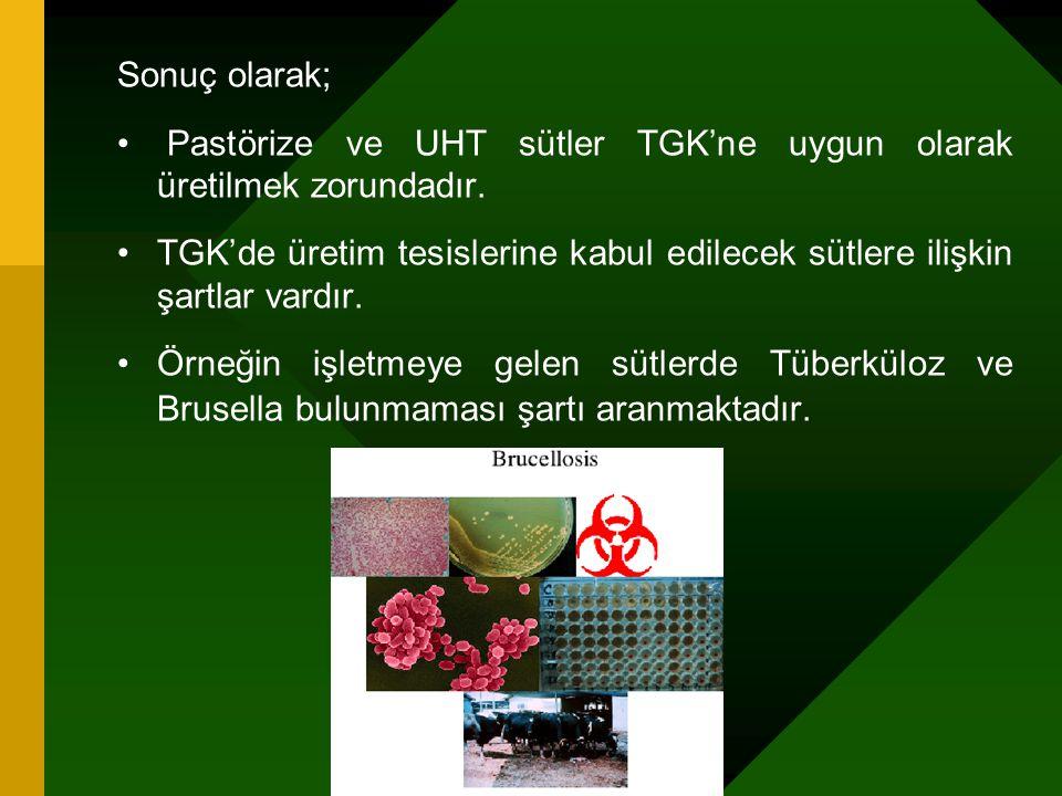 Sonuç olarak; Pastörize ve UHT sütler TGK'ne uygun olarak üretilmek zorundadır.