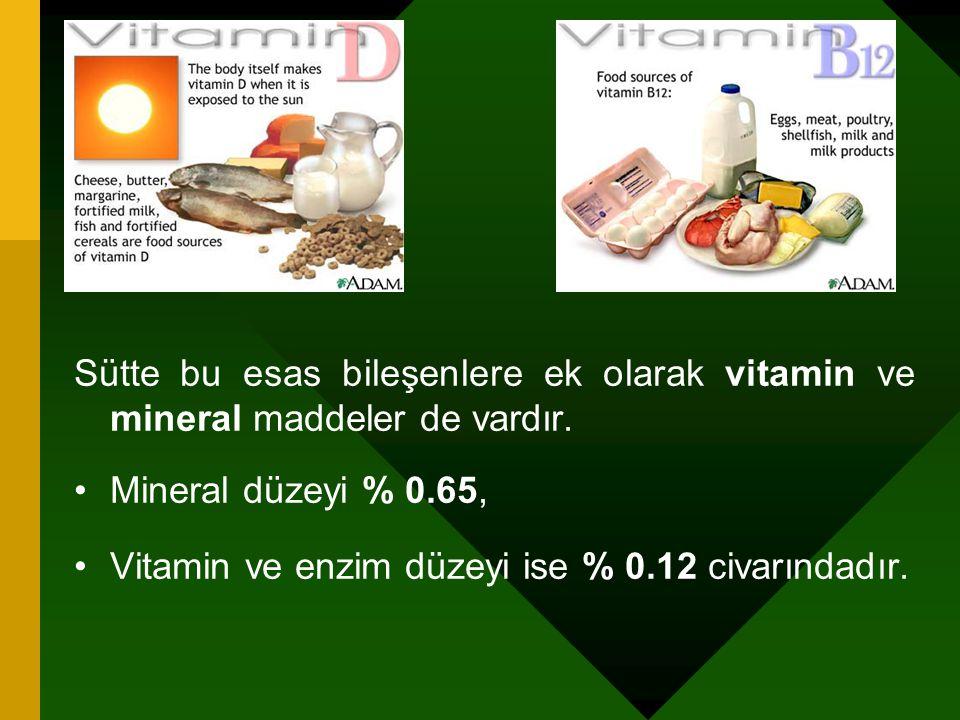 Sütte bu esas bileşenlere ek olarak vitamin ve mineral maddeler de vardır.