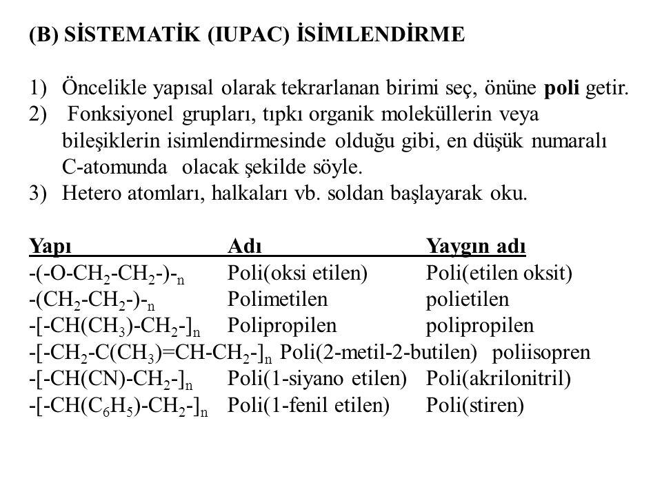 (B) SİSTEMATİK (IUPAC) İSİMLENDİRME