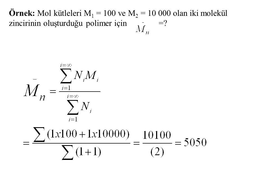 Örnek: Mol kütleleri M1 = 100 ve M2 = 10 000 olan iki molekül