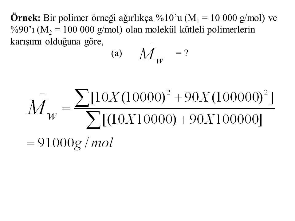 Örnek: Bir polimer örneği ağırlıkça %10'u (M1 = 10 000 g/mol) ve