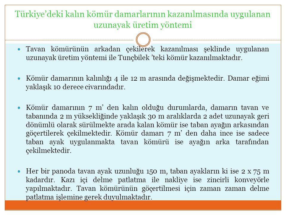 Türkiye'deki kalın kömür damarlarının kazanılmasında uygulanan uzunayak üretim yöntemi