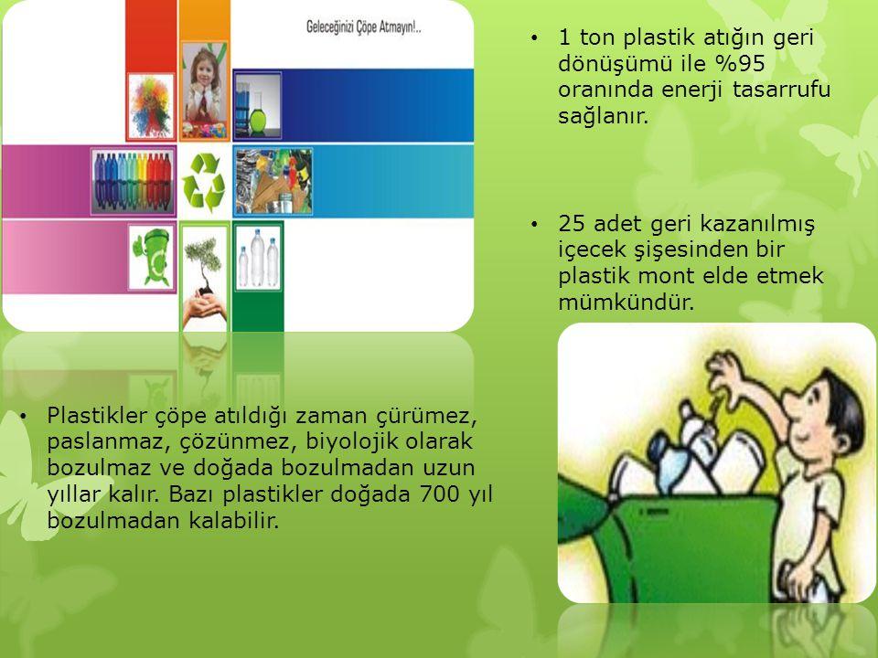 1 ton plastik atığın geri dönüşümü ile %95 oranında enerji tasarrufu sağlanır.