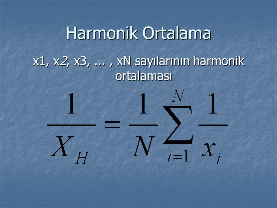x1, x2, x3, ... , xN sayılarının harmonik ortalaması