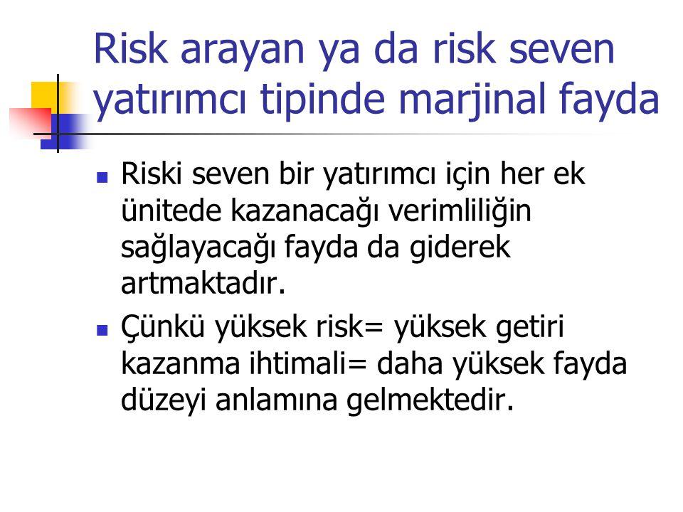 Risk arayan ya da risk seven yatırımcı tipinde marjinal fayda
