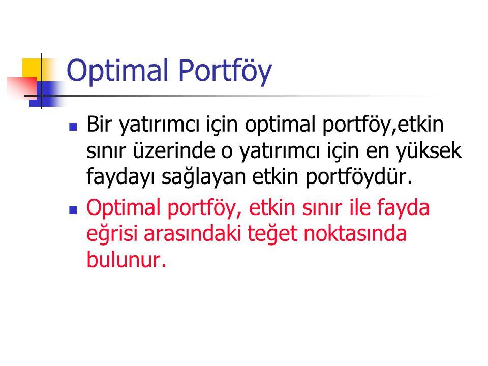 Optimal Portföy Bir yatırımcı için optimal portföy,etkin sınır üzerinde o yatırımcı için en yüksek faydayı sağlayan etkin portföydür.