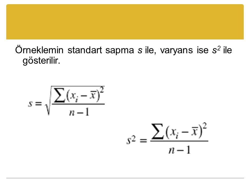Örneklemin standart sapma s ile, varyans ise s2 ile gösterilir.