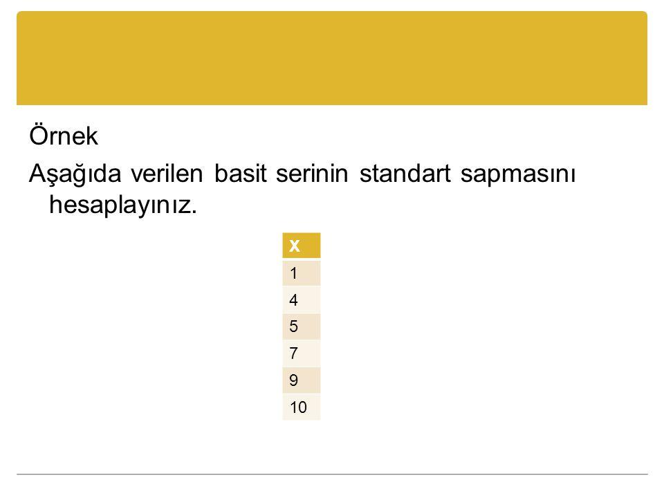 Örnek Aşağıda verilen basit serinin standart sapmasını hesaplayınız.