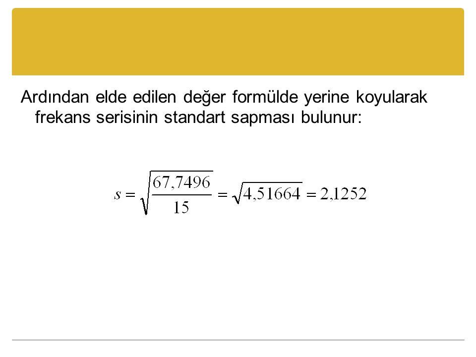 Ardından elde edilen değer formülde yerine koyularak frekans serisinin standart sapması bulunur: