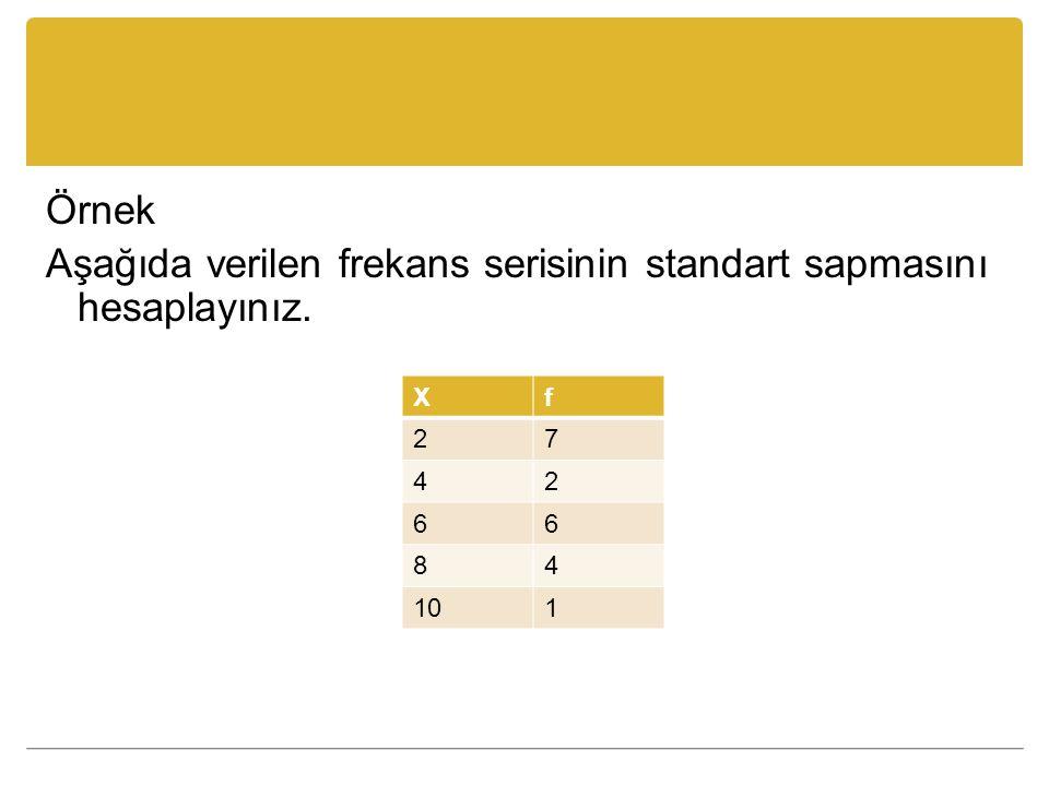 Örnek Aşağıda verilen frekans serisinin standart sapmasını hesaplayınız.