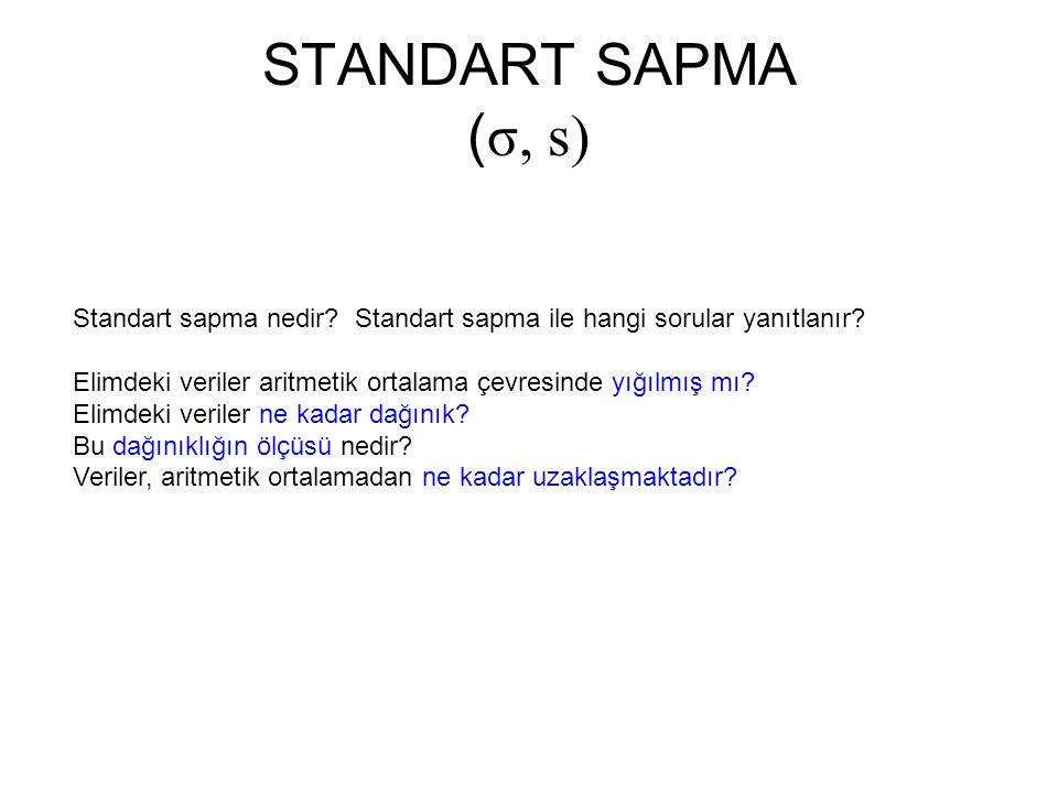 STANDART SAPMA (σ, s) Standart sapma nedir Standart sapma ile hangi sorular yanıtlanır