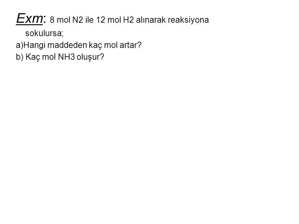 Exm: 8 mol N2 ile 12 mol H2 alınarak reaksiyona