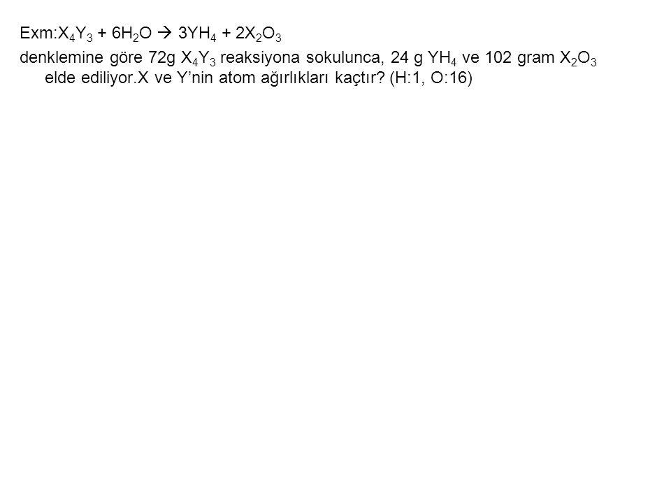 Exm:X4Y3 + 6H2O  3YH4 + 2X2O3