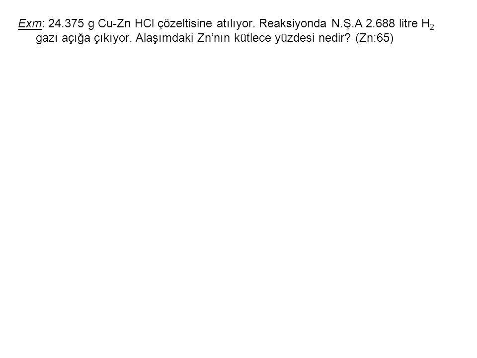 Exm: 24. 375 g Cu-Zn HCl çözeltisine atılıyor. Reaksiyonda N. Ş. A 2