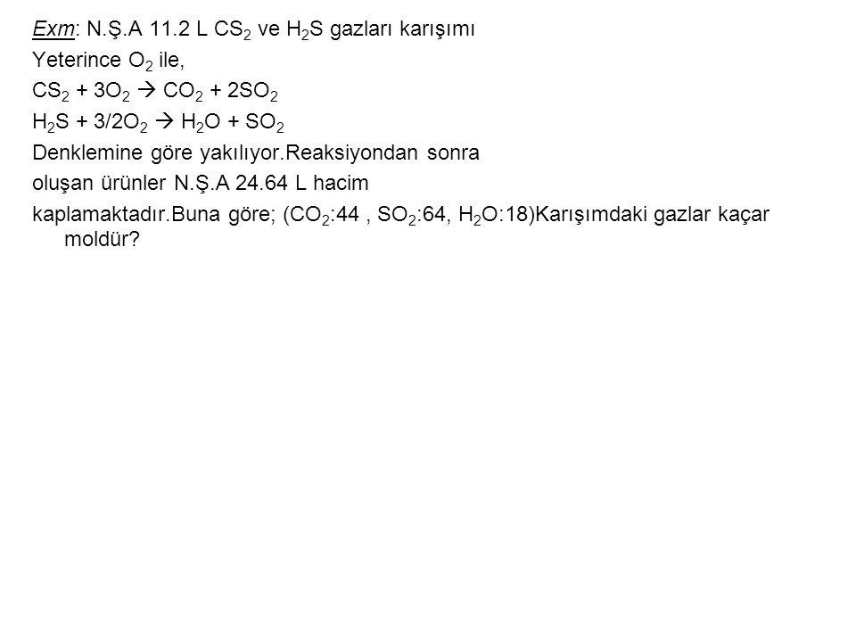 Exm: N.Ş.A 11.2 L CS2 ve H2S gazları karışımı