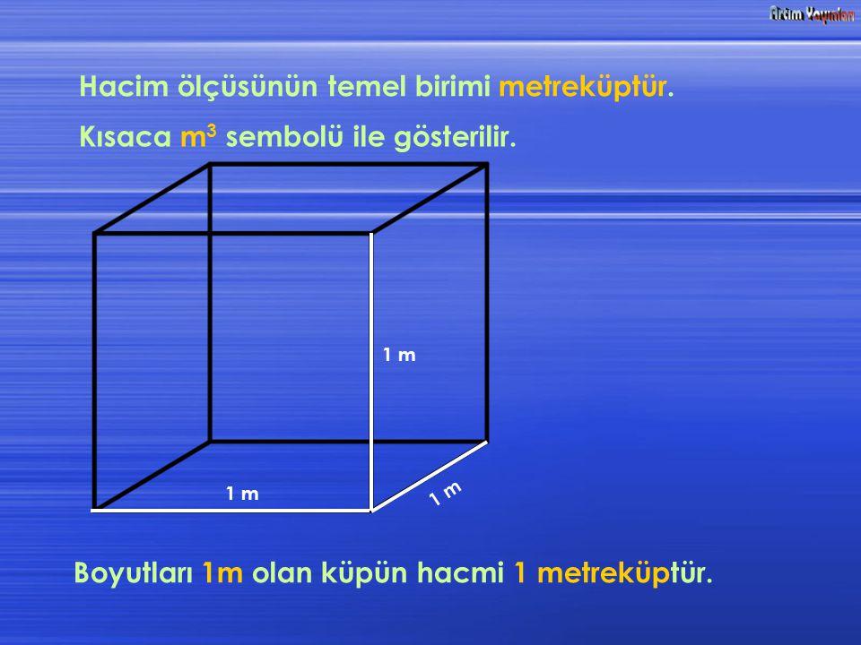 Hacim ölçüsünün temel birimi metreküptür.