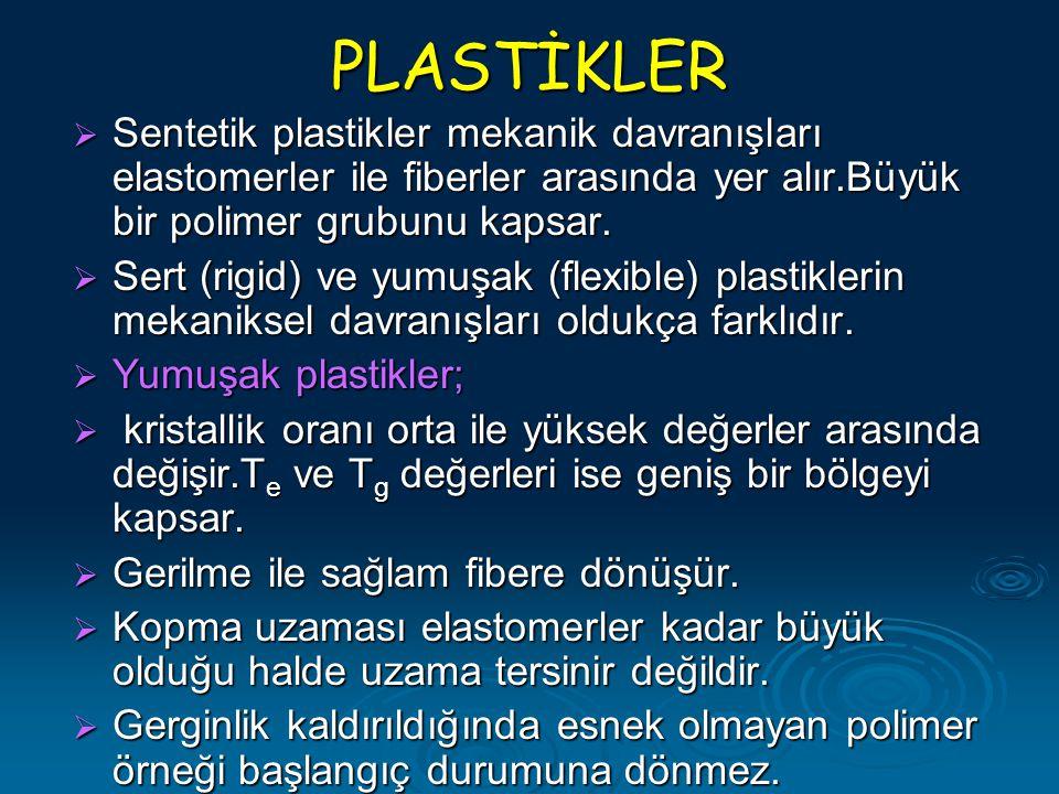 PLASTİKLER Sentetik plastikler mekanik davranışları elastomerler ile fiberler arasında yer alır.Büyük bir polimer grubunu kapsar.