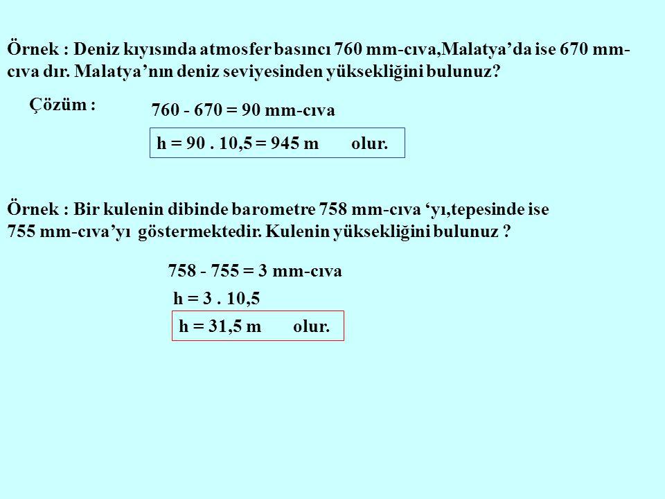 Örnek : Deniz kıyısında atmosfer basıncı 760 mm-cıva,Malatya'da ise 670 mm-cıva dır. Malatya'nın deniz seviyesinden yüksekliğini bulunuz