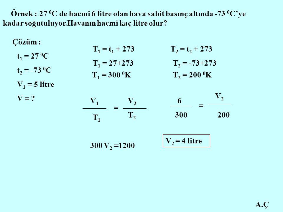 Örnek : 27 0C de hacmi 6 litre olan hava sabit basınç altında -73 0C'ye kadar soğutuluyor.Havanın hacmi kaç litre olur