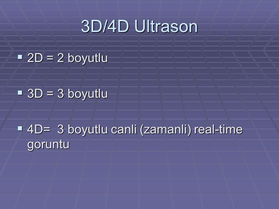 3D/4D Ultrason 2D = 2 boyutlu 3D = 3 boyutlu