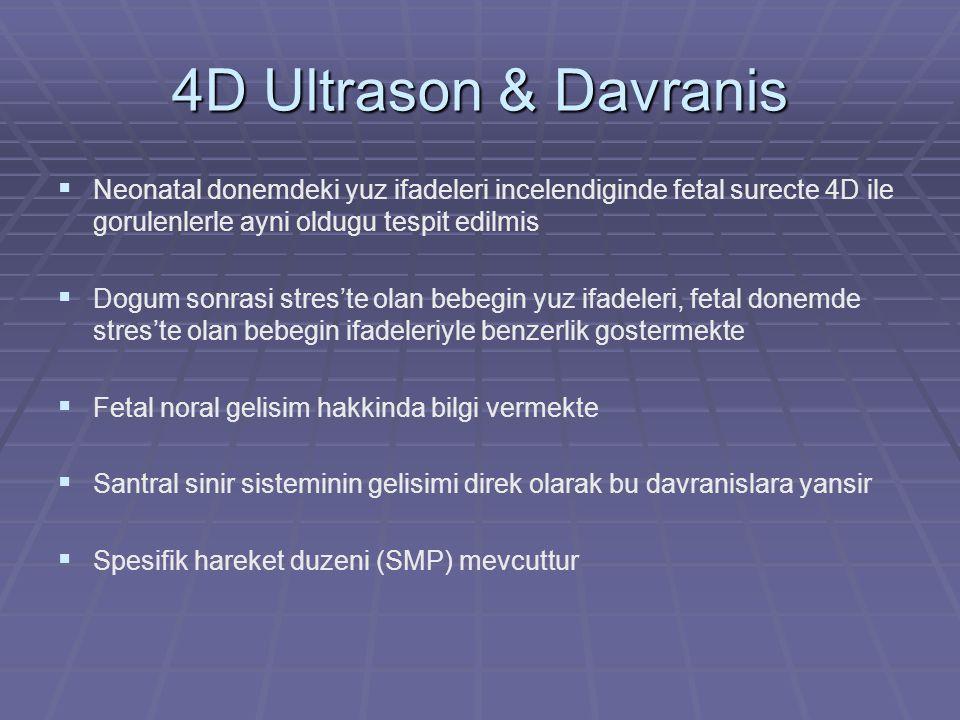 4D Ultrason & Davranis Neonatal donemdeki yuz ifadeleri incelendiginde fetal surecte 4D ile gorulenlerle ayni oldugu tespit edilmis.