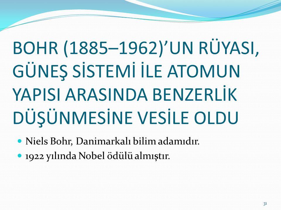 BOHR (1885–1962)'UN RÜYASI, GÜNEŞ SİSTEMİ İLE ATOMUN YAPISI ARASINDA BENZERLİK DÜŞÜNMESİNE VESİLE OLDU