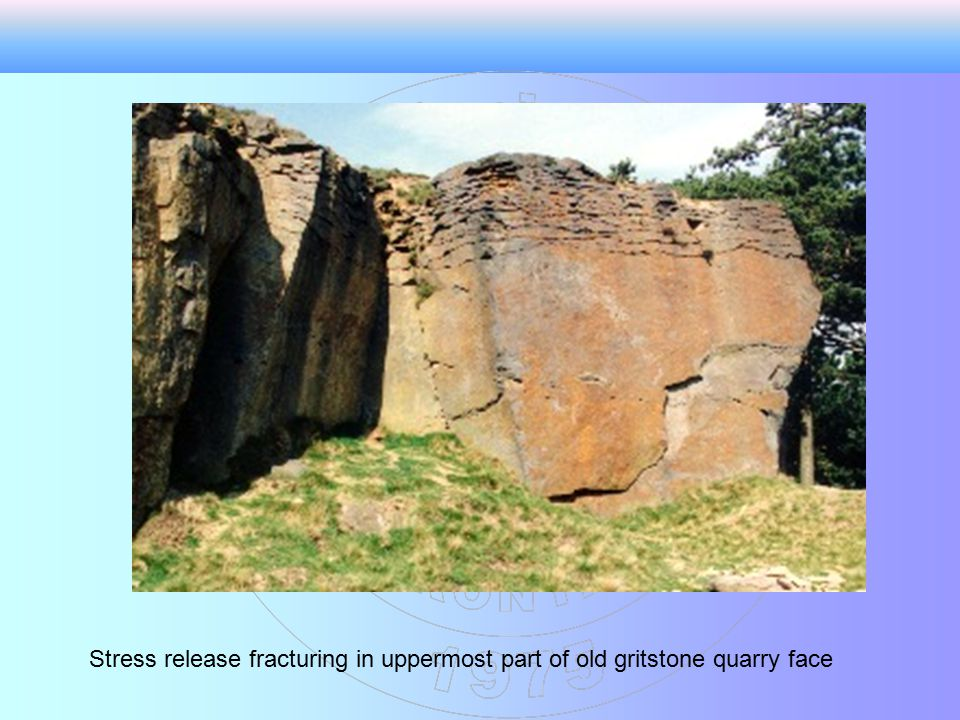 Stress release fracturing in uppermost part of old gritstone quarry face