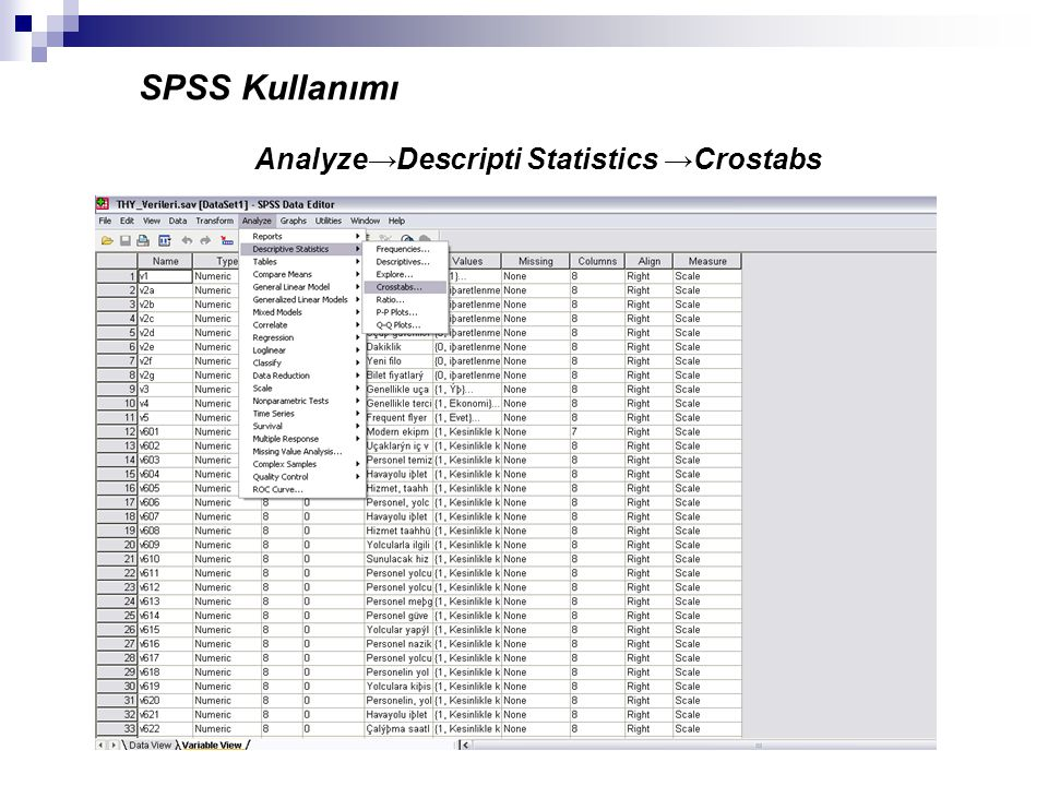 SPSS Kullanımı Analyze→Descripti Statistics →Crostabs