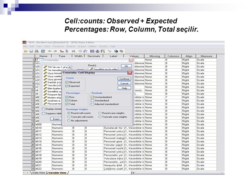 Cell:counts: Observed + Expected Percentages: Row, Column, Total seçilir.