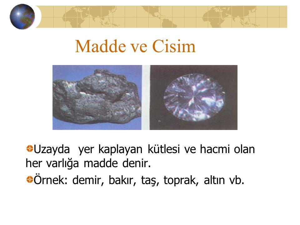 Madde ve Cisim Uzayda yer kaplayan kütlesi ve hacmi olan her varlığa madde denir.