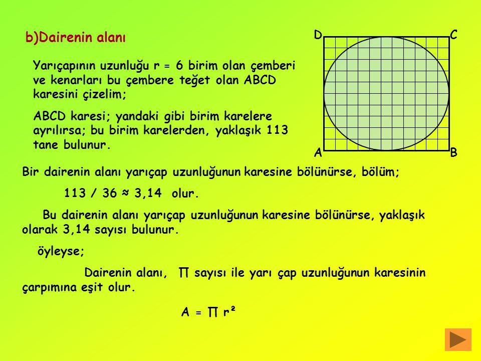 b)Dairenin alanı D. C. Yarıçapının uzunluğu r = 6 birim olan çemberi ve kenarları bu çembere teğet olan ABCD karesini çizelim;