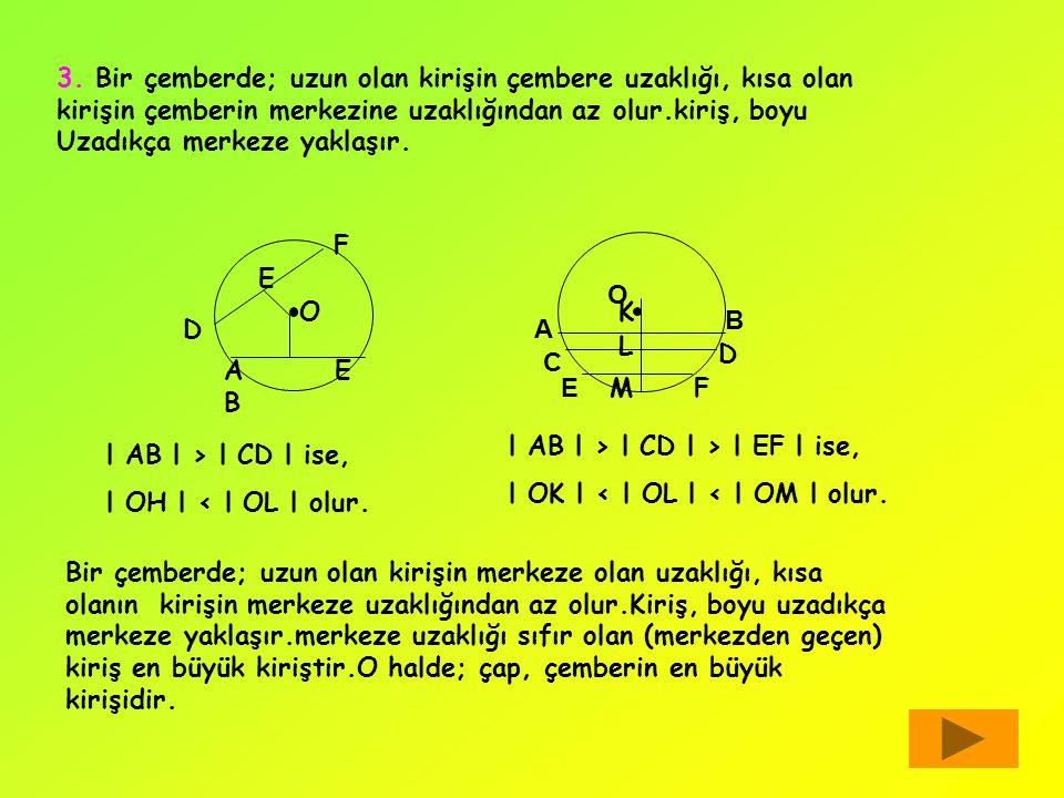 3. Bir çemberde; uzun olan kirişin çembere uzaklığı, kısa olan