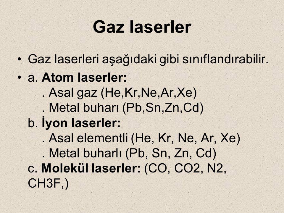 Gaz laserler Gaz laserleri aşağıdaki gibi sınıflandırabilir.