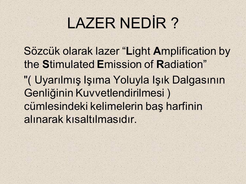 LAZER NEDİR Sözcük olarak lazer Light Amplification by the Stimulated Emission of Radiation