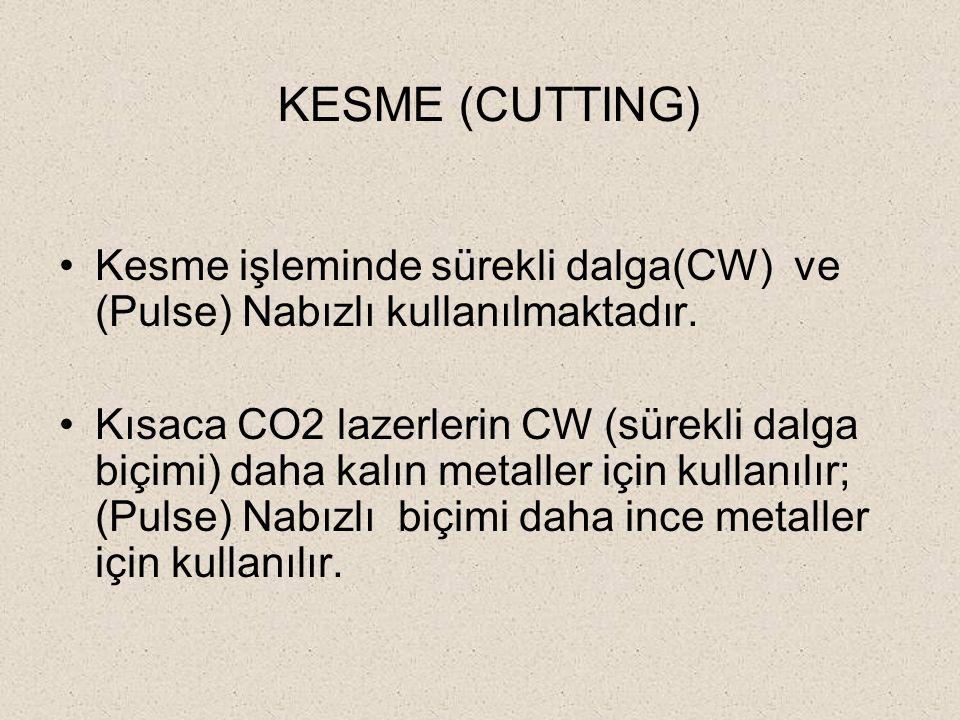 KESME (CUTTING) Kesme işleminde sürekli dalga(CW) ve (Pulse) Nabızlı kullanılmaktadır.